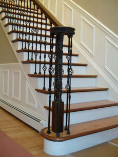 Red Oak treads with Walnut border